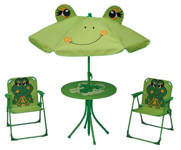 Dětský zahradní set Žabka - křesílka, stoleček a slunečník