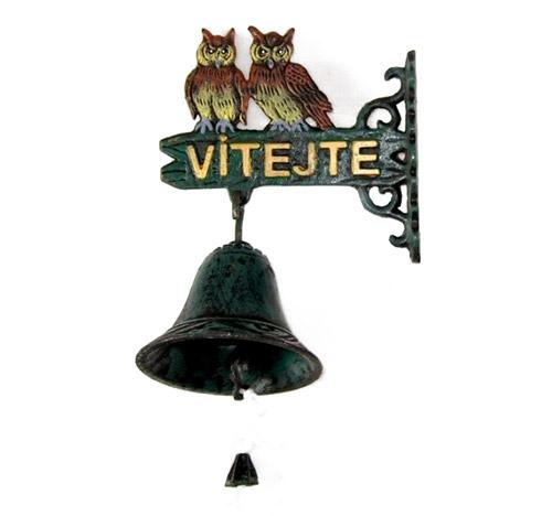Závěsný litinový zvonek 6933 Vítejte 22 x 16 x 9 cm
